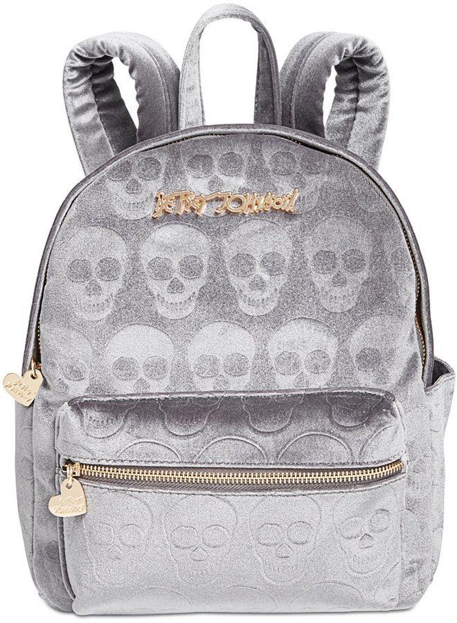 92e501bab97 Betsey Johnson Small Velvet Skull Backpack   Products   Backpacks ...