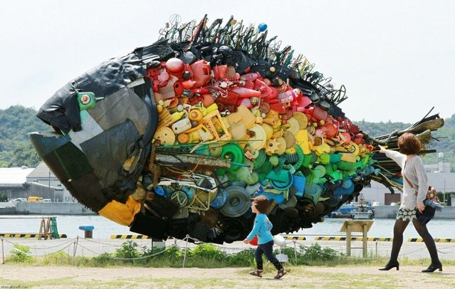 Setouchi Triennale 2013  A large sea bream object, made from colourful debris found drifting at sea, such as plastic tanks, toys and wires, and produced by Japanese art group Yodogawa Tecnique