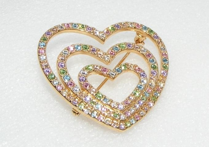 Multi colored rhinestone HEART pin BROOCH costume jewelry | eBay
