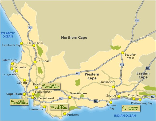 Tourist Map of Western Cape, South Africa