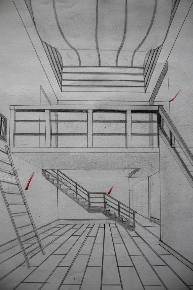 Ejercicio crear espacio con 3 escaleras a un punto de fuga for Exterior un punto de fuga