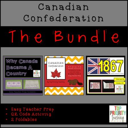 3 great Canadian Confederation products in one - 2 foldables and a fun QR code activity. Perfect for Grade 5 Social Studies. https://www.teacherspayteachers.com/Product/Canadian-History-Confederation-Bundle-2694404