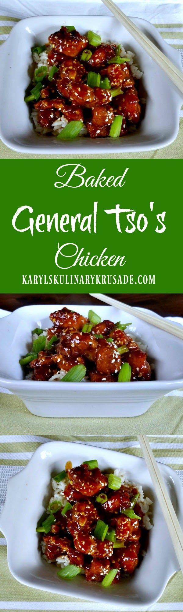 Delicious baked General Tso's chicken recipe from Guest blogger Karyl Henry at Karyl's Kulinary Krusade to make in your own kitchen