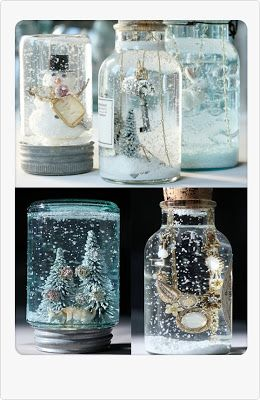 Take a mason jar, glue a animal or a figure in it, then pour water and glitter in and the glue the cap on!!! :)
