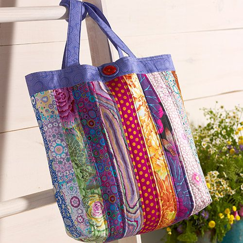 The Kaffe Fassett Classics Patchy Bag.  Sew this fun tote bag to take anywhere