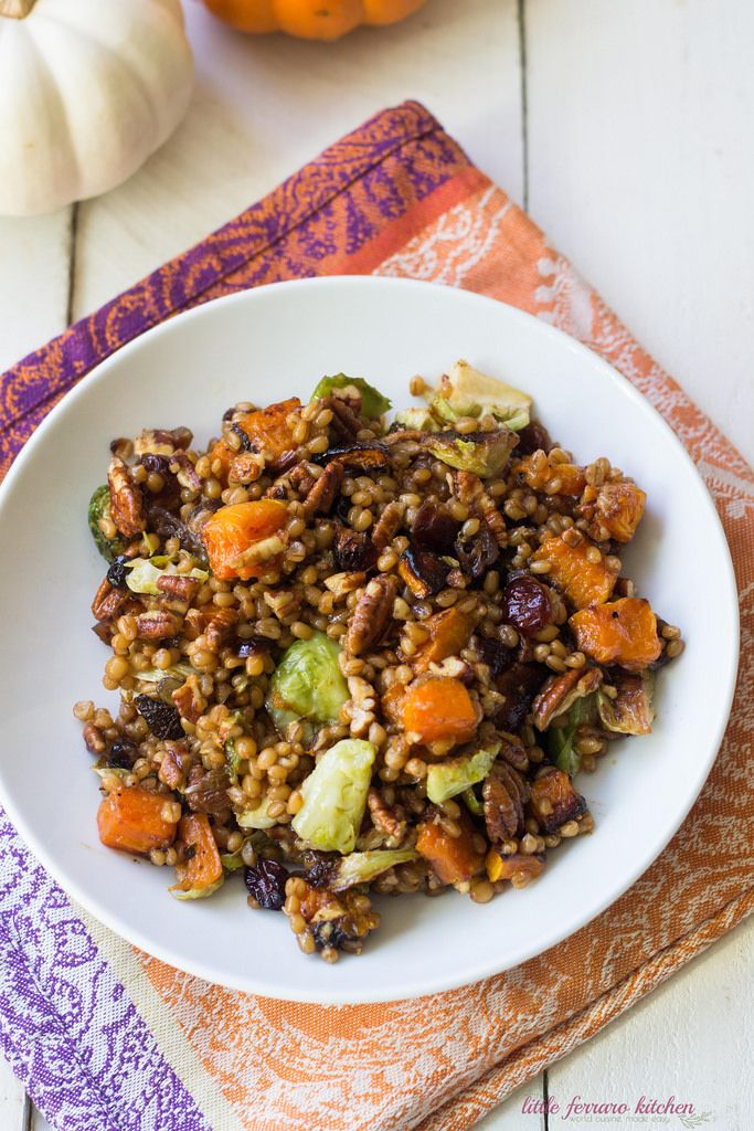 Winter Wheat Berry Salad with Butternut Squash and Brussel Sprouts