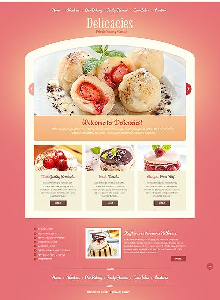 Template 41055 - Gorgeous HTML5 Bakery Website Template With Homepage Slider