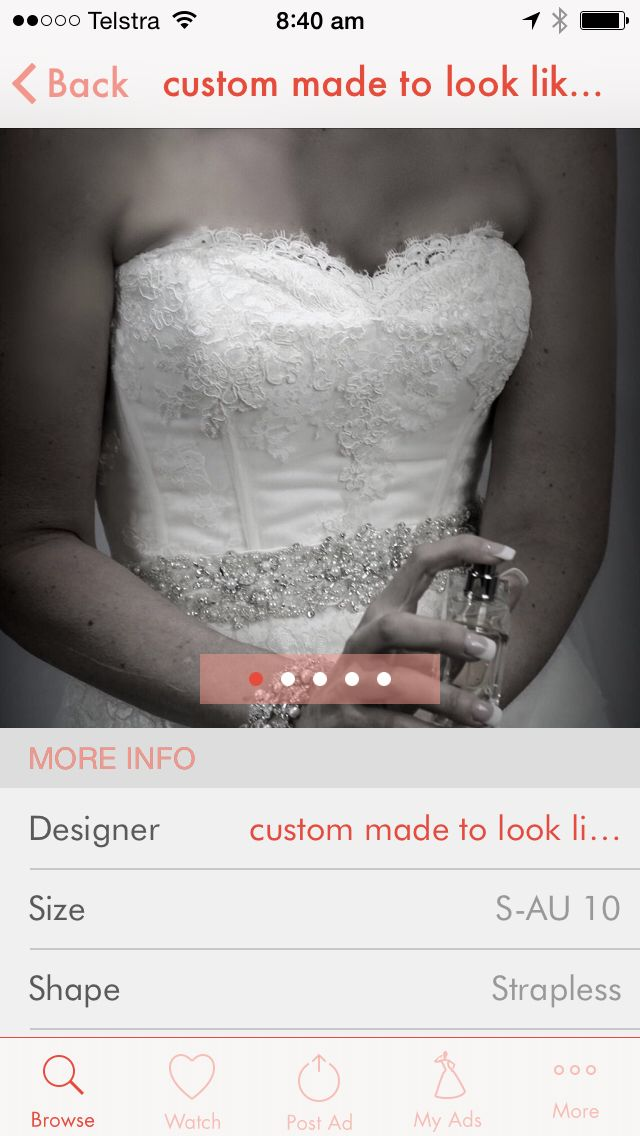 Custom made to look like Vera wang dress for sale on Find me a wedding dress App Go to www.findmeaweddingdress.com.au follow the download now tab to take you to the iTunes Store. ☺️