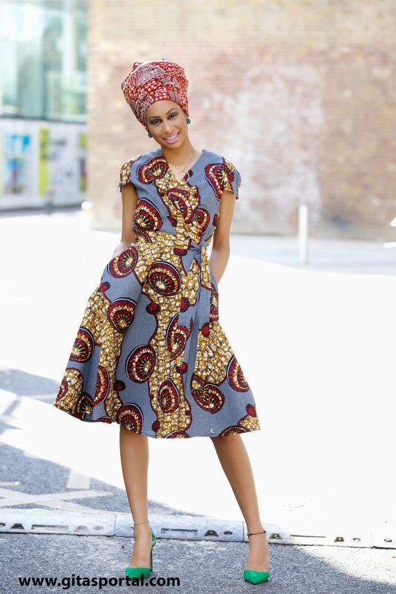 NEW IN Queen African print wrap dress by GITAS by GitasPortal