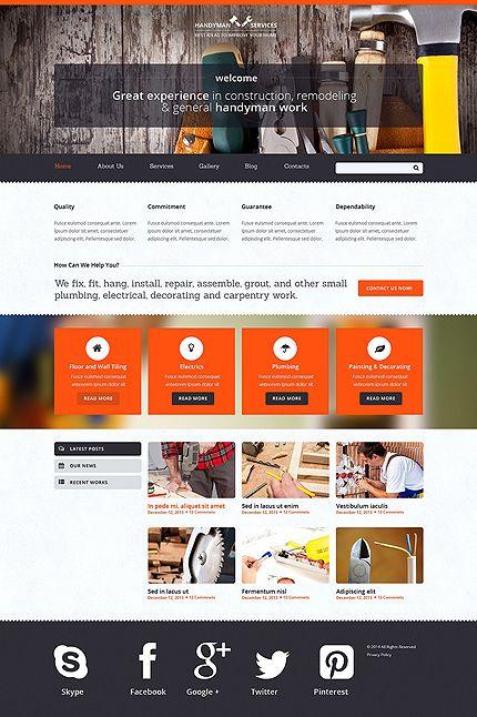 Handyman website template - $75 #Joomla #ResponsiveDesign ...