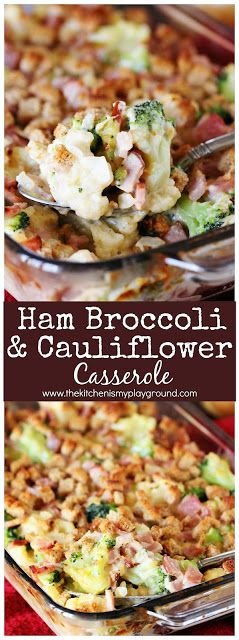 Ham Broccoli & Cauliflower Casserole ~ Loaded with chopped ham and veggies in a cheesy white sauce, this casserole is certainly a fabulous recipe for enjoying leftover ham! #hamcasserole #ham #hamrecipes #leftoverham #hamleftovers #broccolicasserole #broccoli #cauliflower www.thekitchenismyplayground.com