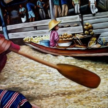 "Saatchi Art Artist Dan Civa; Painting, ""Floating Market, Bangkok, Thailand - No.E."" #art"