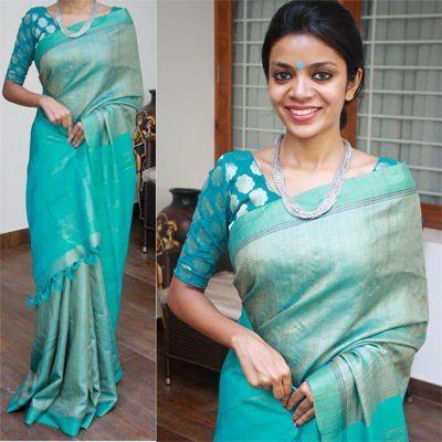 Blue kosa silk - NVY studio Kosa silk designs look different and interesting - simple, elegant