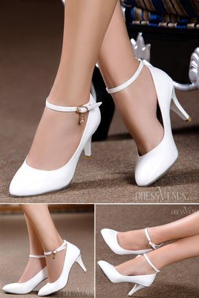 Simple 2014 New Arrive Pointed-End White High Heels Wedding Shoes from dressvenus.com.