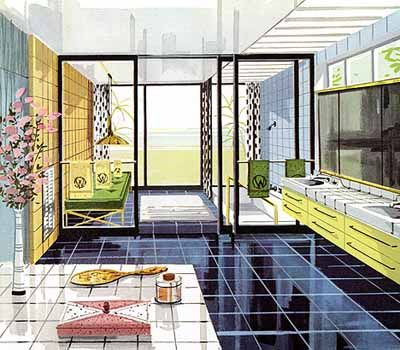 1950s bathroom design - look at that shower!!!