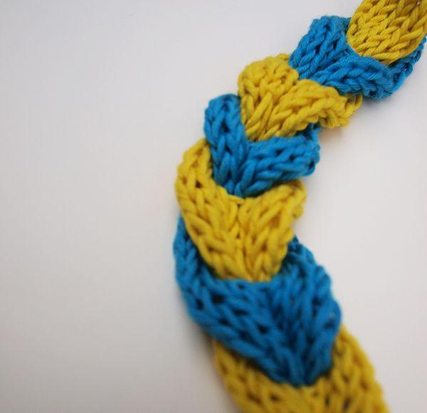 Hallo Knitters!In diesem Post möchten wir euch zeigen, wie ihr einen zweifarbigen gestrickten Zopf zaubert, und das alles mit ganz grundlegenden Strickkenntnissen :)Dazu müsst ihr nur zwei längliche Stücke stricken, entlang welcher ihr jeweils Knopflöcher einarbeitet. Die Wahl der Länge, Breite, Anzahl und Abstand der Löcher bleibt dabei ganz euch überlassen.Um die zwei Stücke zu einem Zopf zu verbinden, gehst du folgendermaßen vor:Und schon hast du einen hübschen Knopflochzopf kreiert ...