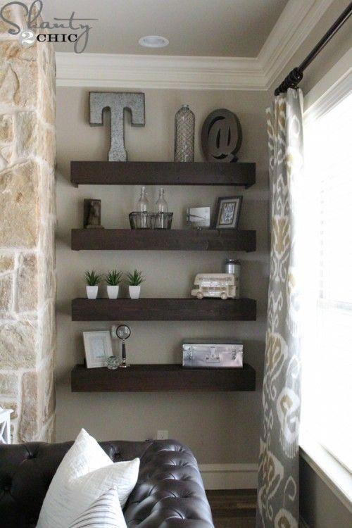 DIY Living Room Floating Shelves via Shanty-2-Chic #livingroomideas