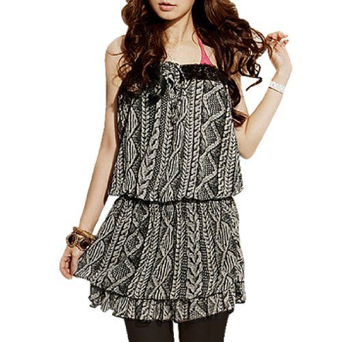 Allegra K Lady Beige Gray Shirr Waist 2 Tiers Lined Tube Shirt XS Allegra K. $12.65