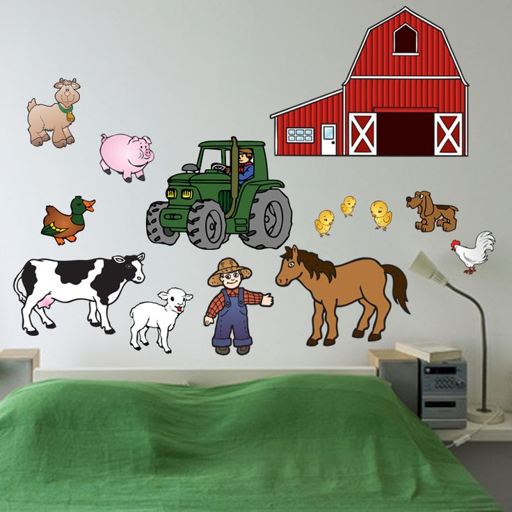 Kids Room Wall Decals Farm Wall Decals Farm Animal Decals: Themed Room Decorations