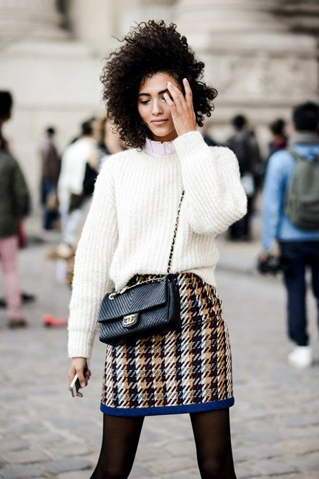 Plaid mini skirt   white chunky knit   chanel classic flap bag   fall layering