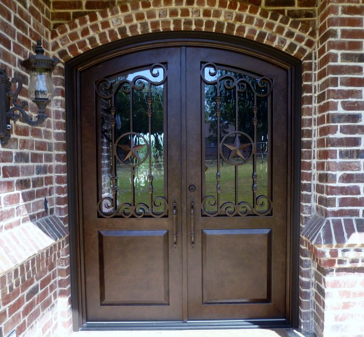 Double Wrought Iron Door With Texas Star Aaleadedglass Com