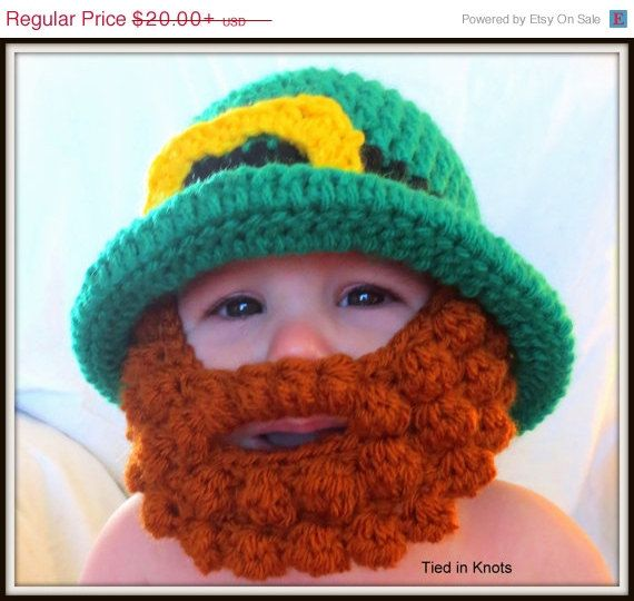 SALE St Patricks Bearded Beanie Hat with Detachable beard - Crochet Leprechaun beard hat - crochet beard hat - Irish beard - Baby beard hat - pinned by pin4etsy.com
