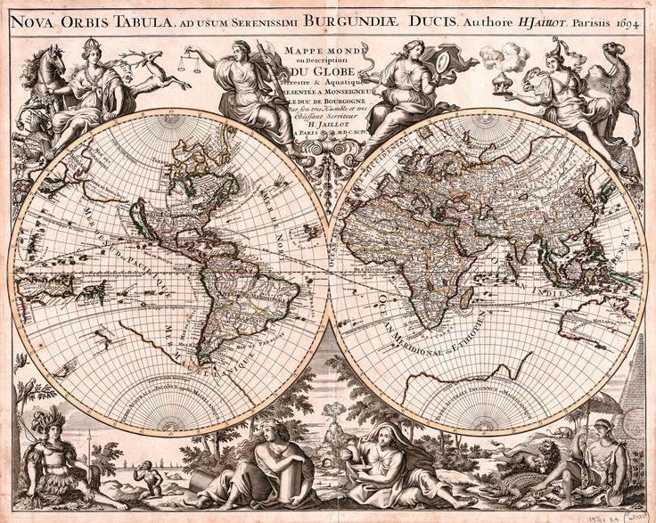 Mejores 20 imgenes de antique maps vintage maps art prints en antique world map old vintage map 1694 fade resistant hd art print or canvas gumiabroncs Images