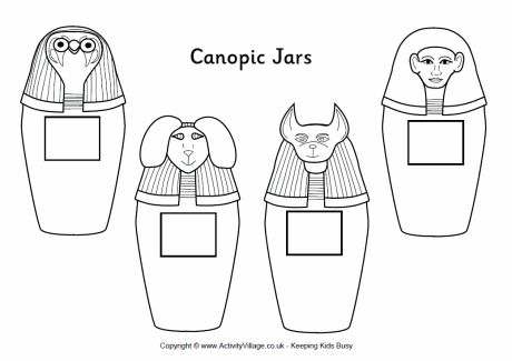 egyptian sarcophagus designs | canopic jars colouring page, 4 canopic jars from Ancient Egypt