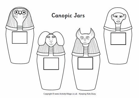vasi canopi colorare, 4 vasi canopi di Antico Egitto