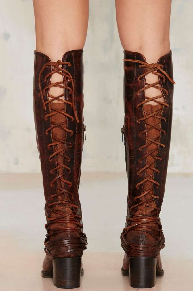 Lace-Up Leather Boot