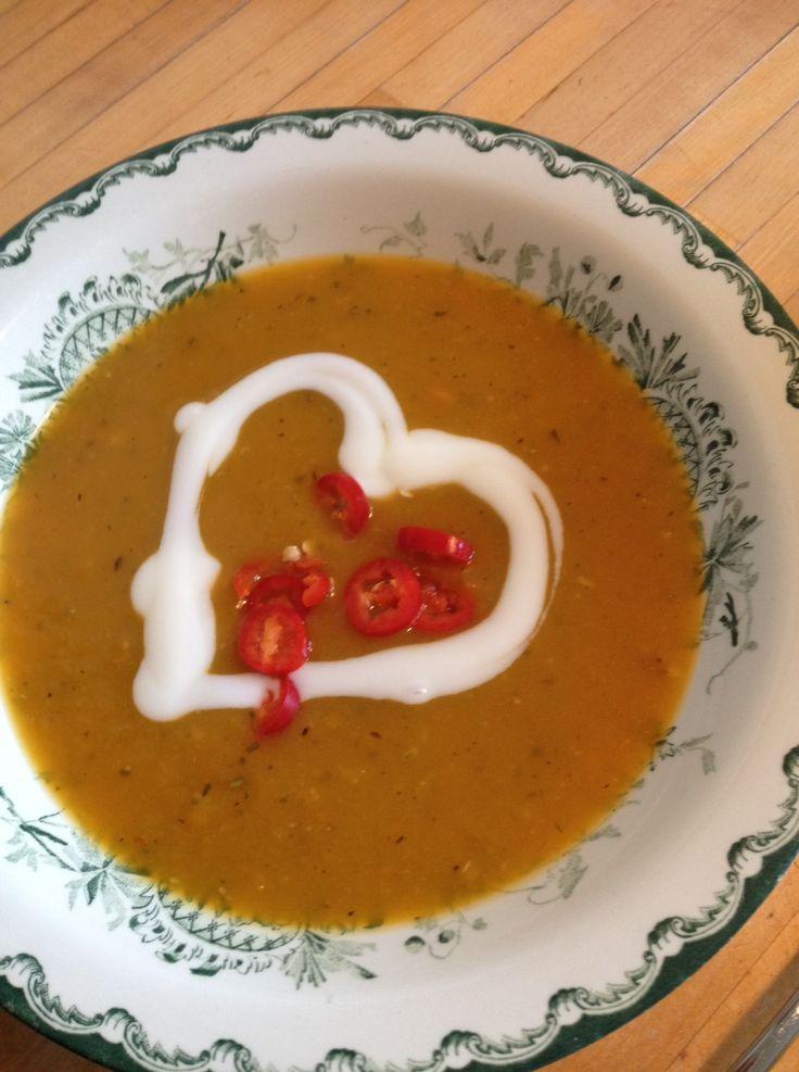 Pumpkin soup with hot love