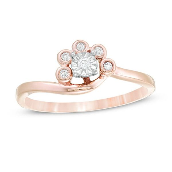 1 10 Ct T W Diamond Swirl Bypass Ring In 10k Rose Gold In 2020 Rose Gold Diamond Stone Bypass Ring