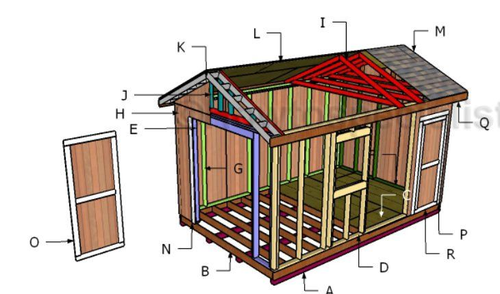 10x16 Gable Shed Roof Plans Howtospecialist How To Build Step By Step Diy Plans Building A Shed Shed Design Shed Plans