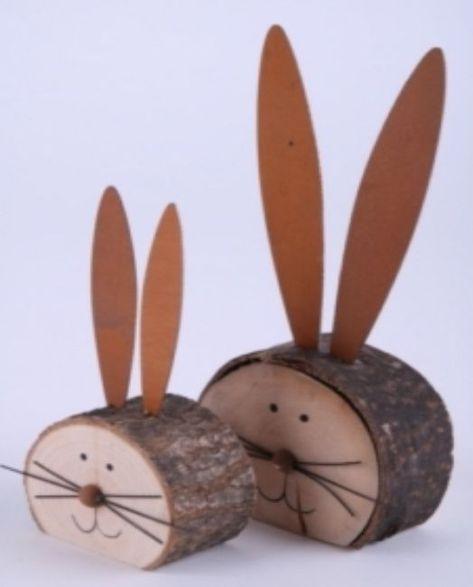 Hase Holzscheibe mit Blechohren