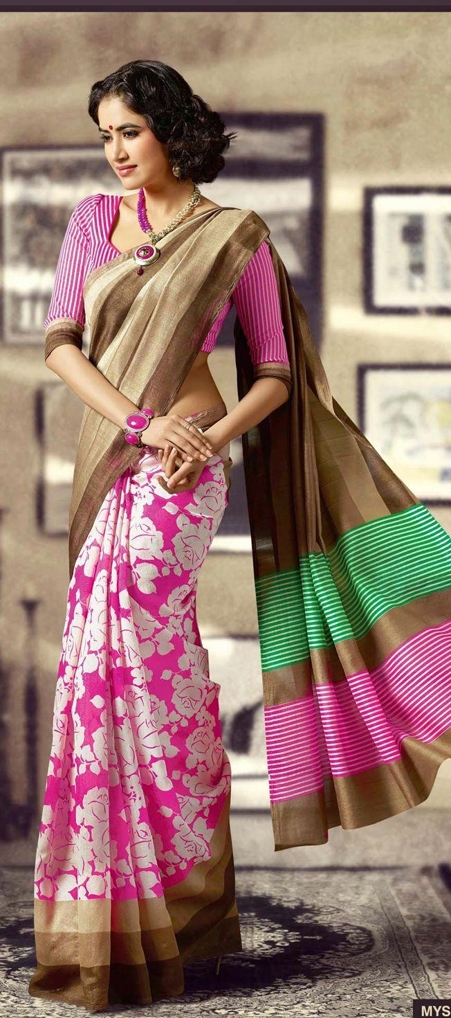 Pink Floral Print #Saree With Contrasting Border Pallu.