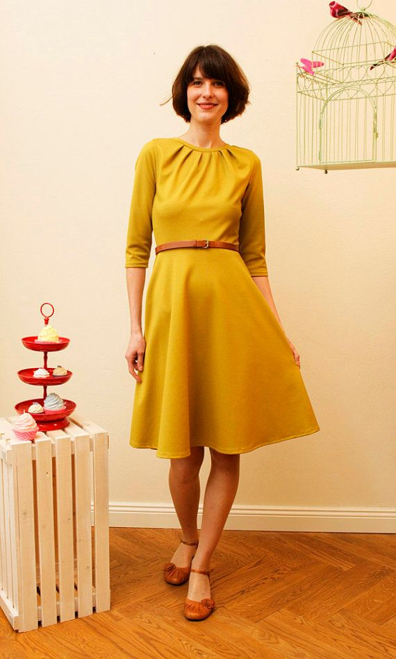 Dress Elisa with a round skirt and little falts by jekyllundkleid, $170.00