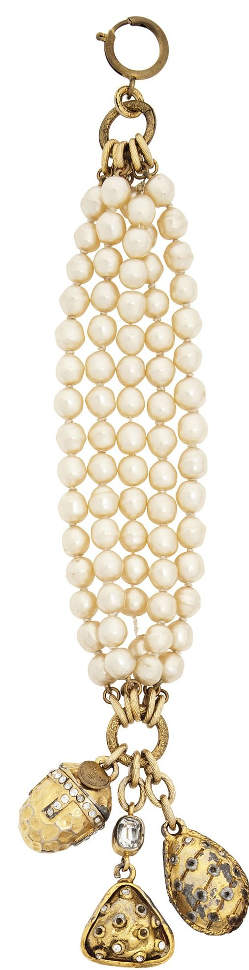 CHANEL: Five Strand, Simulated Pearl Charm Bracelet LBV