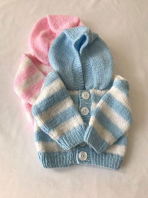 a84e533133b7 Hand knitted/handmade/Preemie/Prem/Premature/Newborn baby/baby girl/baby boy/Unisex/hooded  Jacket/hoodie/cardigan blue pink white | HandmadeBabyStore ...