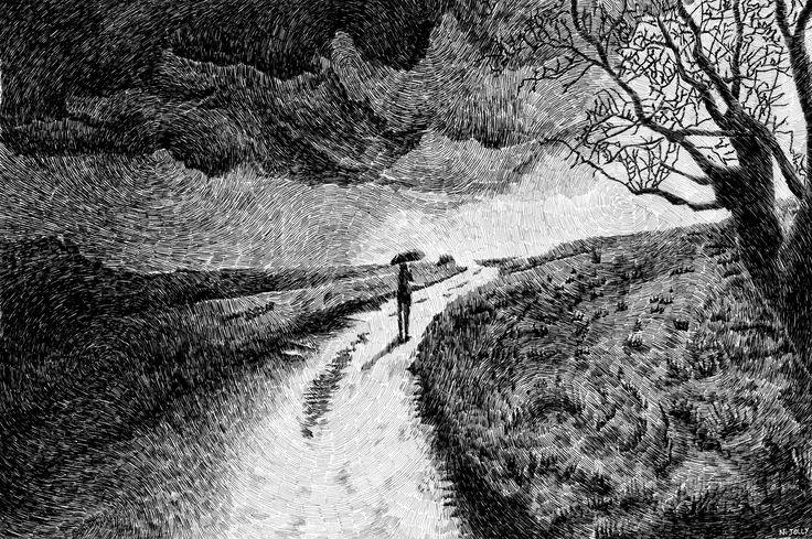 Fingerprint – Black ink drawing – Black rain