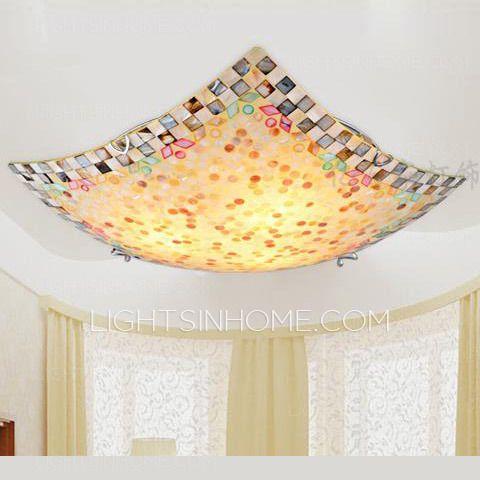 Tiffany Seashell E27 Screw Base Flush Mount Ceiling Light Fixture