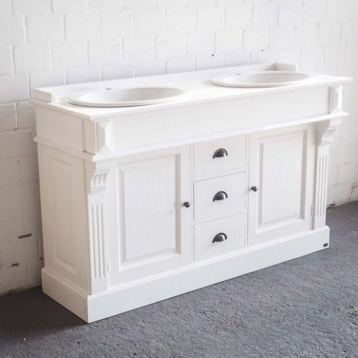 waschtisch wei massivholz doppelwaschtisch im landhausstil spiegel optional bad waschtische badmbel - Landhaus Badezimmermbel