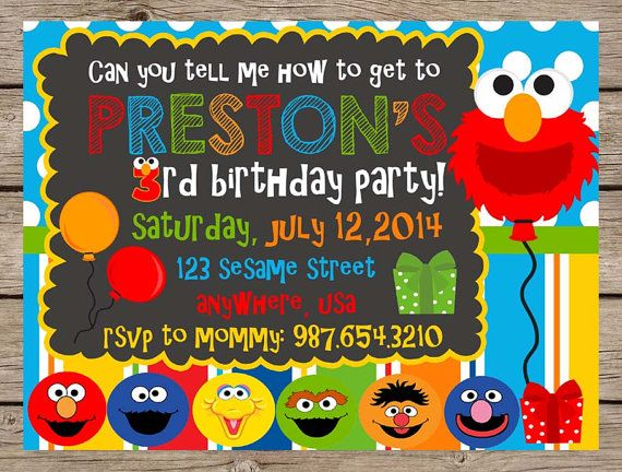 ♥ elmo sesame street birthday invitation ♥    >>> want a matching chalkboard poster?