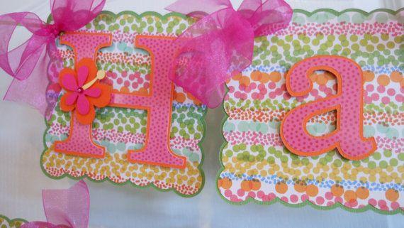 Luau Birthday Banner with name and age-Luau Party Banner-Luau Baby Shower- Luau Birthday-Pink and Orange Birthday-Hawaiian Decorations