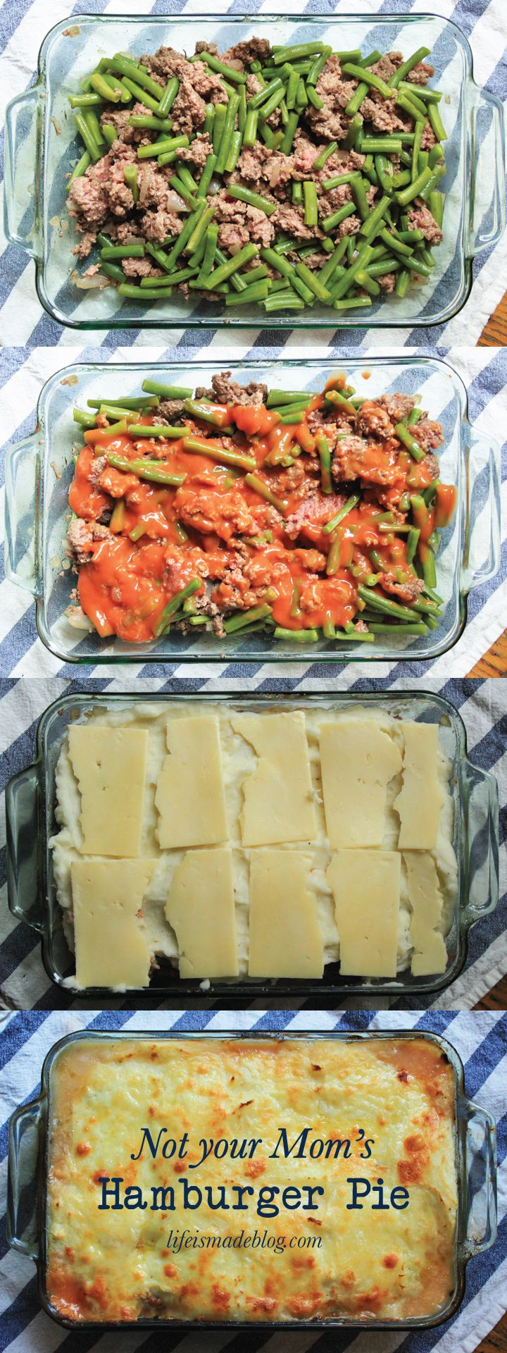 Not Your Mom's Hamburger Pie, with ground beef, green beans, onion, tomato sauce, mashed potatoes, cheese