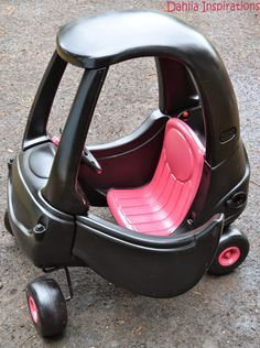 Little Tykes Cozy Coupe. Pink and Black makeover