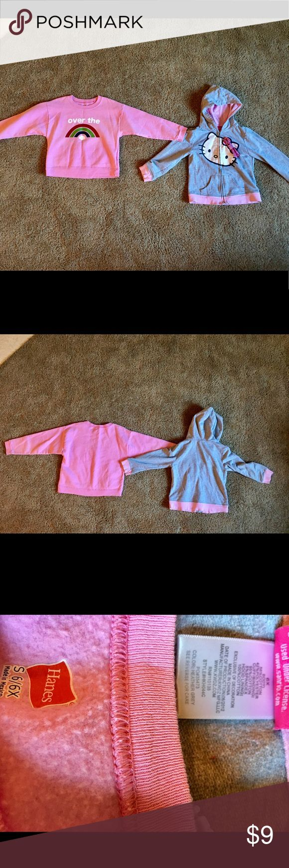 2 Girls Sweatshirts Size 6X 2 Girls Sweatshirts Size 6X  Both super soft. No rips or tears. Small spots as shown on the pink sweatshirt.  I feel all my prices are fair but am more than willing to negotiate and bundle.   If you are ever dissatisfied with an order, please let me know before giving me bad feedback! I will always try to correct the problem, I am a shopper too! Sanrio Jackets & Coats