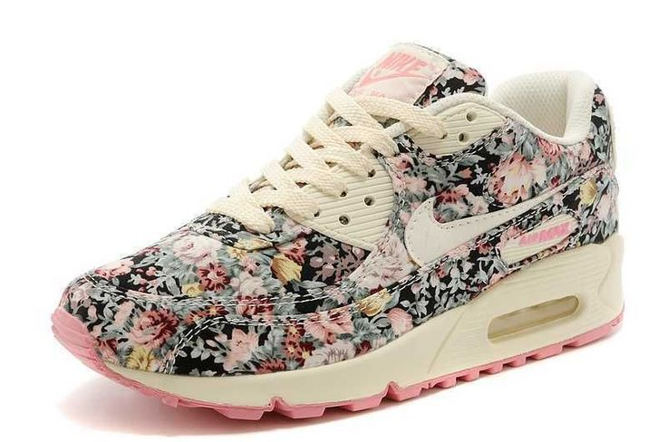 Nike Air Max 90 Floral Height Increasing Shoes Women size shoes Women Rose #Nike #RunningCrossTraining