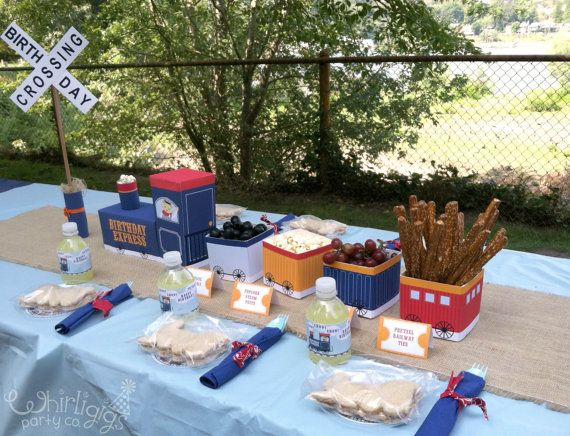 Train Party - Food Safe Centerpiece Printables - Instant Download PDF & Instructions to Make