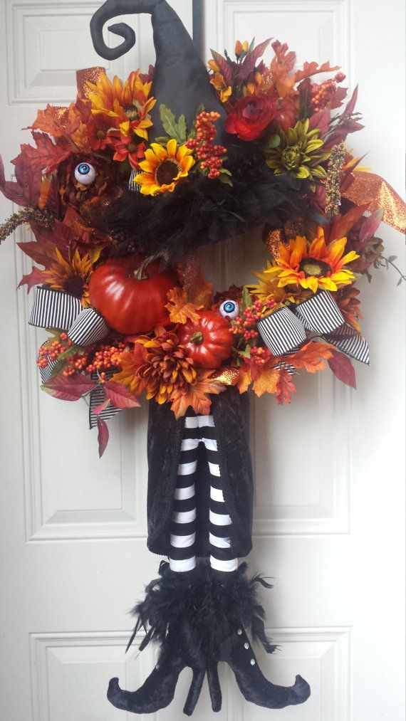 VOORBEHOUDEN XXL Halloween heks krans van KBWreaths op Etsy