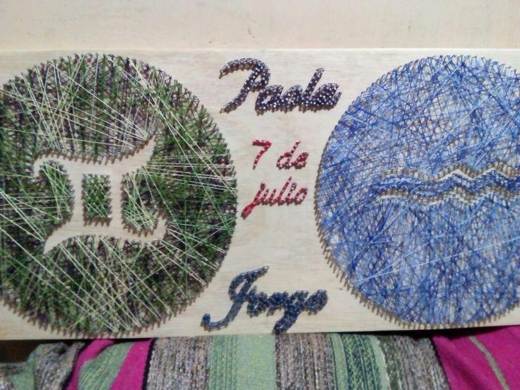 Cuadro con simbolos del sodiaco , geminis y acuario , Paola y Jorge conocidos el 7 de julio ...